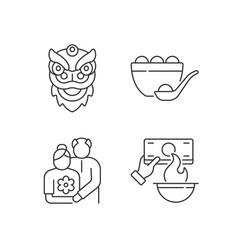 china national holidays linear icons set vector image
