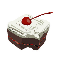 chocolate cake with cherry isolate vector image