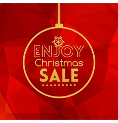Christmas sale ball card abstract red background vector