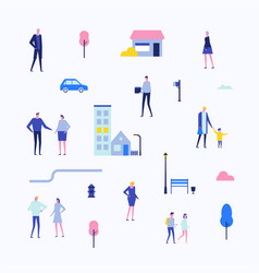 citizens - flat design style set of isolated vector image