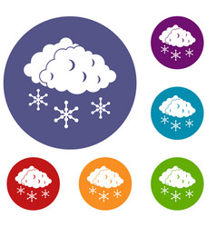 Clouds and snow icons set vector
