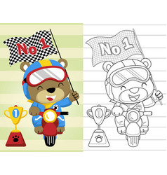 Coloring book or page with funny motor racer vector