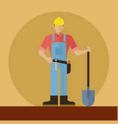 Construction worker with shovel vector
