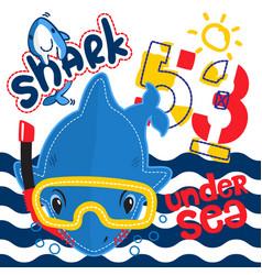 Cute cartoon shark wearing snorkel gear vector