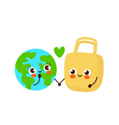 cute happy earth planet and eco bag vector image