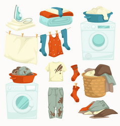 Dirty and clean laundry washing machine and iron vector