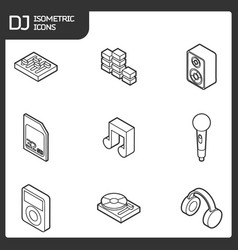 Dj outline isometric icons vector