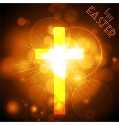 Easter Cross on a golden glowing background with vector image