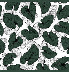 falling contrast outline palm leaves seamless vector image