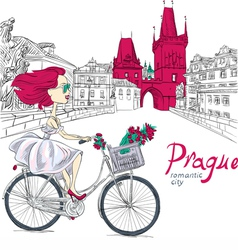 Fashion girl in white dress on bike in Prague vector image