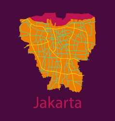 Flat outline map of the indonesian capital jakarta vector