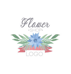 Flower shop colorful logo label or badge in vector