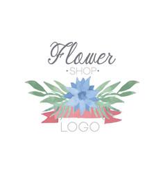 flower shop colorful logo label or badge in vector image