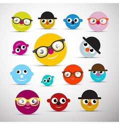 Funny Face Icons vector image
