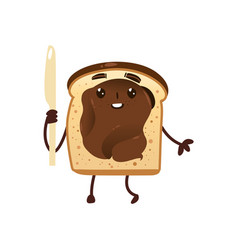 Funny smiling bread toast with chocolate spread vector