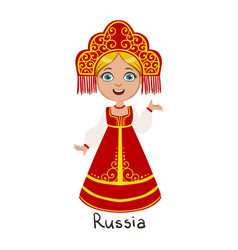 Girl in russia country national clothes wearing vector