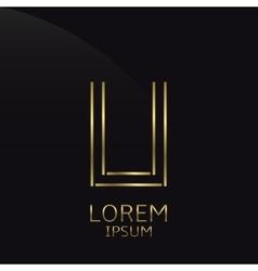 Golden U Letter vector image