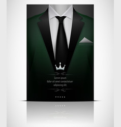Green suit and tuxedo with black tie vector