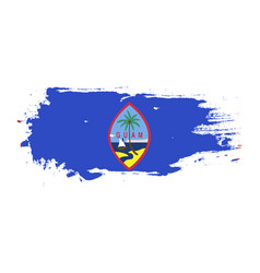 Grunge brush stroke with guam national flag vector
