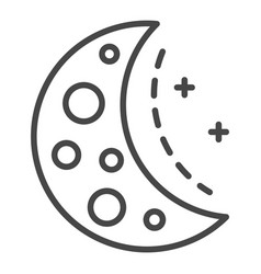 half moon icon outline style vector image