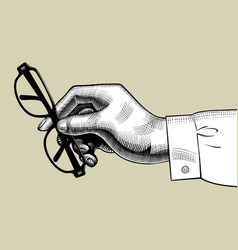 hand of man holding glasses vector image
