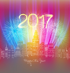 Happy new year neon greeting Fireworks in the city vector