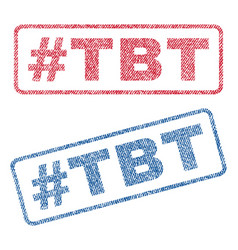 Hashtag tbt textile stamps vector