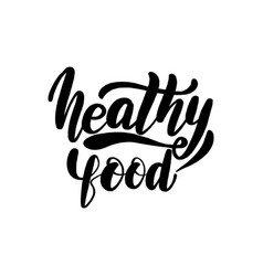 Healthy food lettering greeting card vector