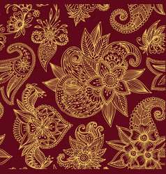 Henna mehndi flower template seamless vector