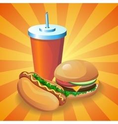 hotdogburgercola vector image