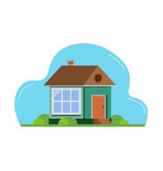 House flat design suburban landscape vector