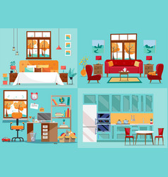 House interior 4 rooms inside front views vector