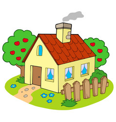 House with garden vector