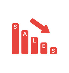icon concept of sales bar graph moving down vector image
