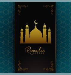 Islamic ramadan kareem card design with golden vector