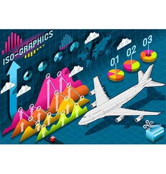 Isometric Infographic Set Elements with Airplane vector