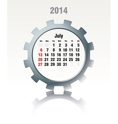 July 2014 - calendar vector image
