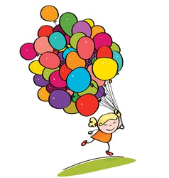 kid with balloons vector image