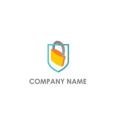 locked safe shield protect logo vector image