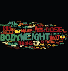 Lose weight thighs text background word cloud vector