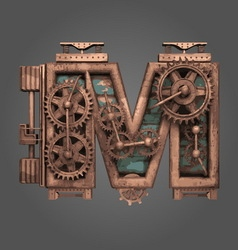 m rusted letter with gears vector image