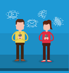 man and woman character using smartphone vector image
