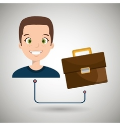 Man cartoon suitcase business portfolio vector