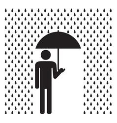 man holding umbrella under the rain vector image