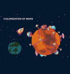 Mars colonization - planet with futuristic vector