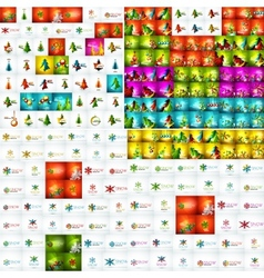 Mega collection of Christmas abstract backgrounds vector image