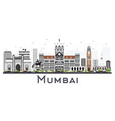 Mumbai india city skyline with color buildings vector