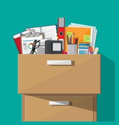 Office furniture cabinet locker drawer vector