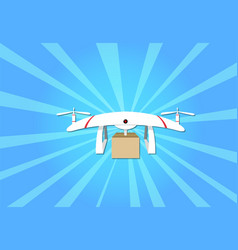 Parcel delivery by drone on blue background vector