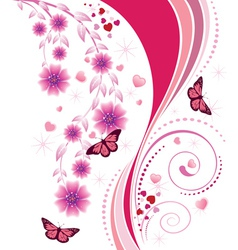 Pink floral ornament vector